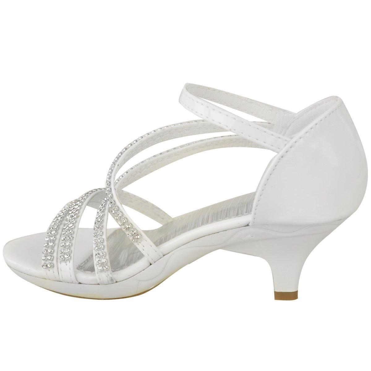 Fashion Thirsty Girls Kids Heeled Wedding Bridesmaid Diamante Sandals Party Shoes Size