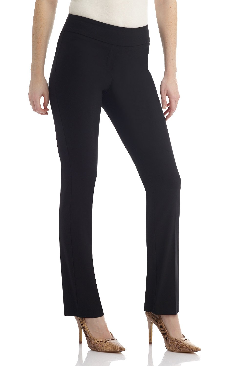 Rekucci Women's Ease in to Comfort Straight Leg Pant with Tummy Control (16,Black)