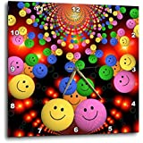 """3D Rose Image of Many Multi Colored Smiley Faces Wall Clock, 15"""" x 15"""""""