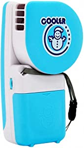Akanbou Portable Mini Handheld air Conditioner Cooling Fan & Handy Cooler Small Fan Powered by Batteries or USB (Blue)