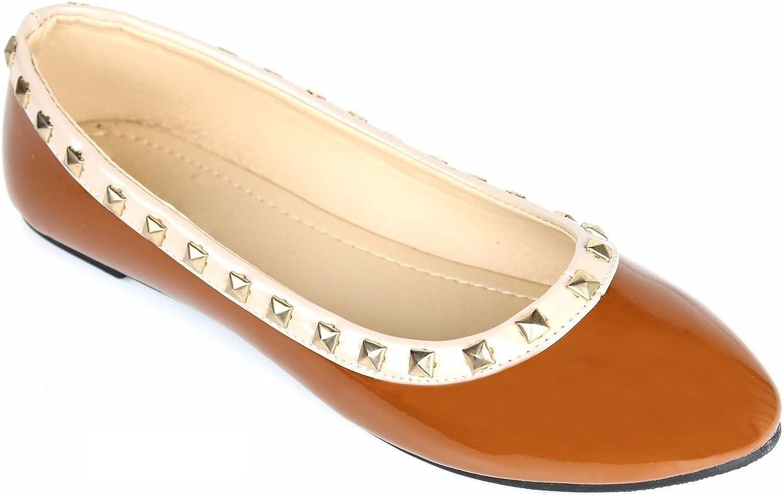 New Women/'s Rivet Rochstud Patent Leather Pointy Toe Ballet Flats Shoes