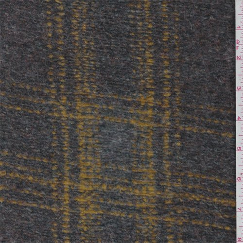 Golden Yellow Plaid Boiled Wool Knit, Fabric by The Yard -