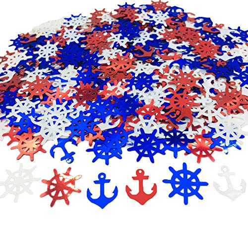 Anchor Rudder Confetti Patriotic Nautical Party Theme Nautical Baby Shower Nautical Cut Out Red White Blue (Red White Blue)]()