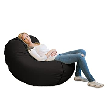 Lumaland Luxury Lounge Chair Sitzsack Stylischer Beanbag 320L Fullung Verschieden Farben Schwarz