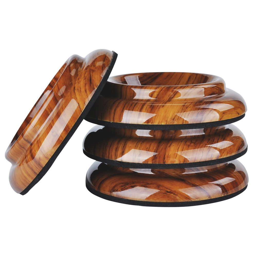NUZAMAS Set of 4 Upright Piano Caster Cups ABS Plastic Feet Pad Timber Floor Carpet Protector Slip Resistant Deep Brown