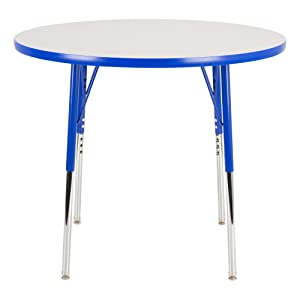 """Norwood Commercial Furniture Adjustable-Height Round Activity Table, 36"""" Diameter, Gray/Blue, NOR-RCERD36C-GBL"""
