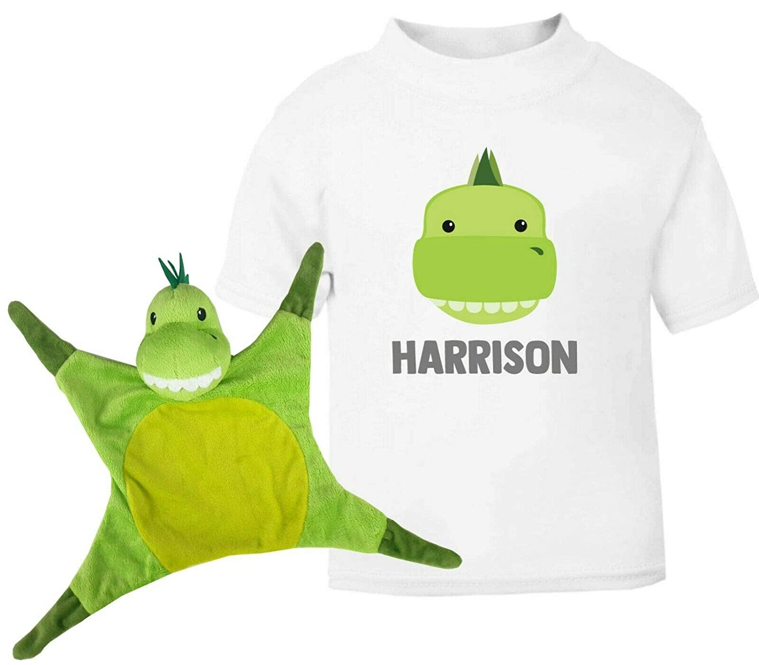 Absolutely Top Personalised Dinosaur Baby Grow T-Shirt Snuggle Blanket Snuggle Comforter Baby Boys Toy Gift Set