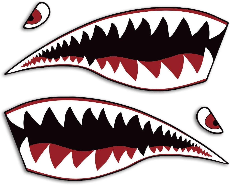 2X Shark Hai Mund Augen Aufkleber Auto Motorrad Helm Tuning Design Wetterfest