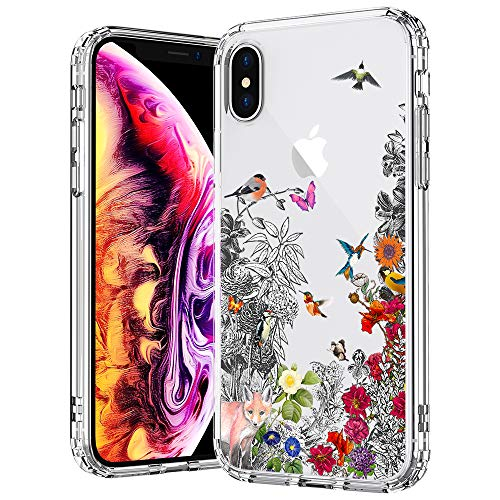 (MOSNOVO Case for iPhone Xs/iPhone X, Floral Flower Humming Bird Clear Hard Case Design with Shockproof Protective Back Case Cover for Apple iPhone X/iPhone Xs)