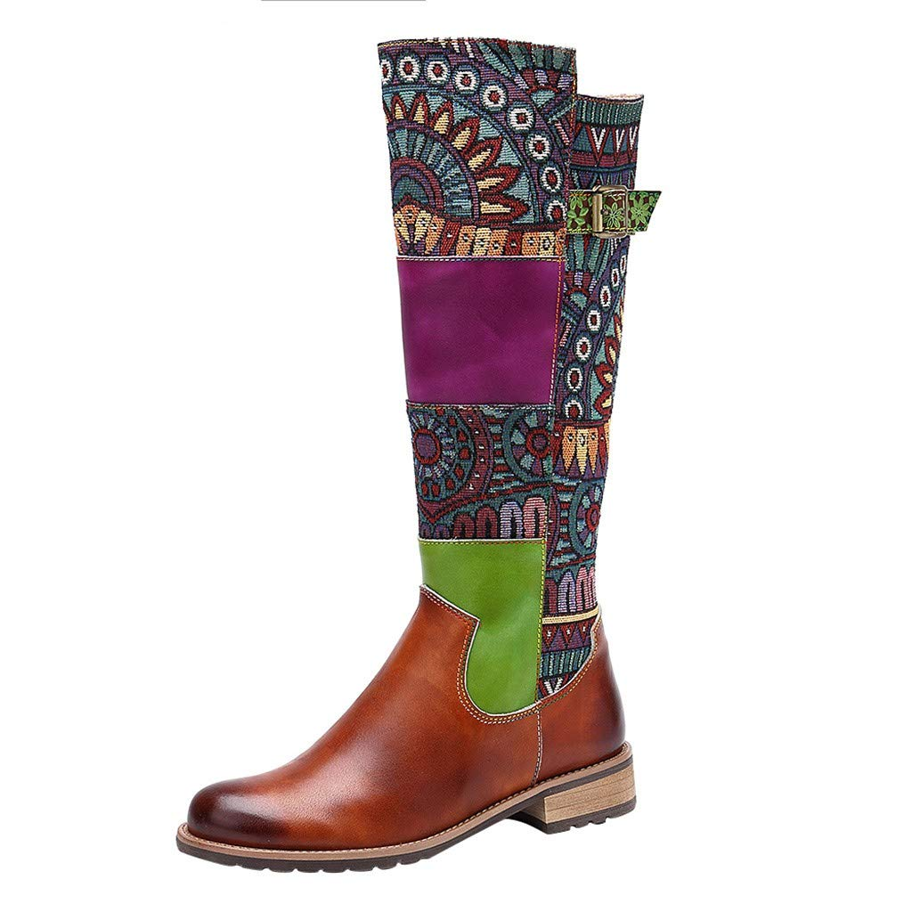 LONGDAY Ride Floral Embroidered Bootie Casual Block Mid High Heel Vintage Short BootsWomen's Rosebud Ankle Bootie by LONGDAY-Boots