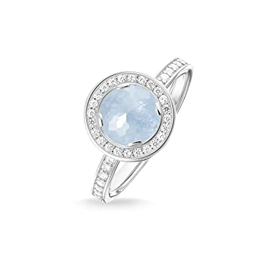 THOMAS SABO Women Ring TR1971-694-31 Eternity Ring 925 Sterling Silver Zirconia Pavé White, Milky Aquamarine Silver-coloured, Light Blue