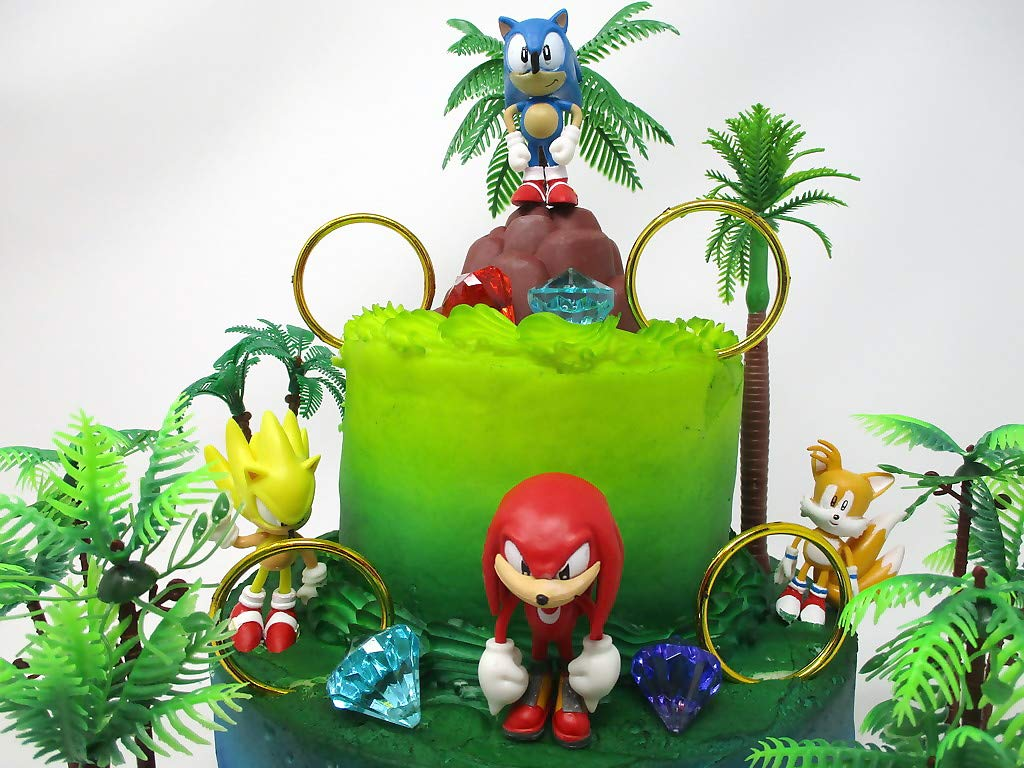 SONIC and Friends Deluxe Birthday Cake Topper Set Featuring Sonic Character Figures and Decorative Themed Accessories