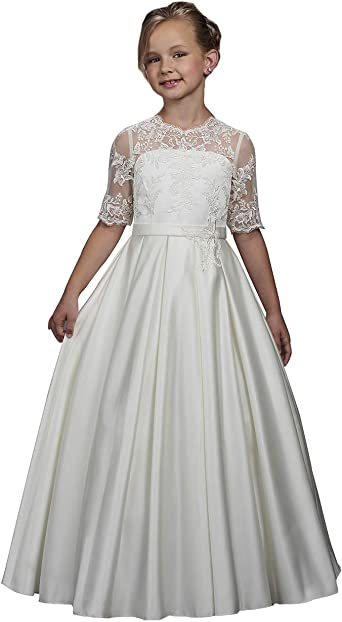 White Satin Flower Girls First Communion Long Dress Wedding Easter Party Sequins