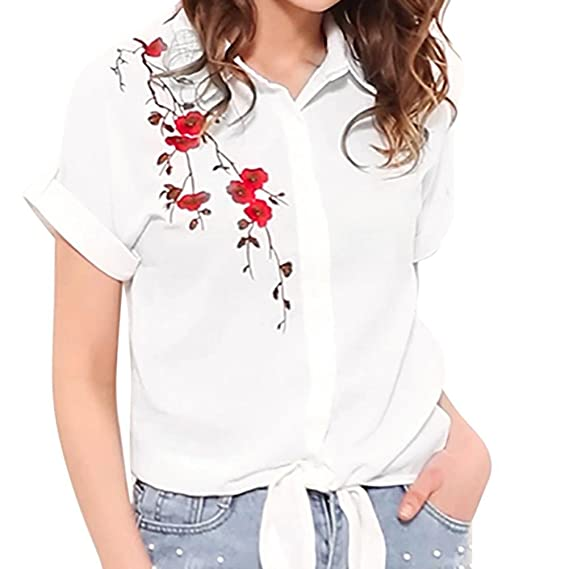 c17fffbc Oksale Women's Turn-Down Collar Floral Short Sleeve Embroidery Tops Blouse  T-Shirt Small