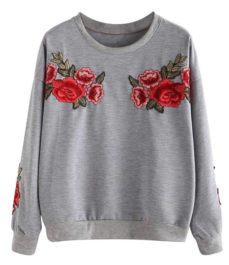 Etecredpow Women Crew-Neck Pullover Loose Fit Long Sleeve Embroidery Sweatshirt