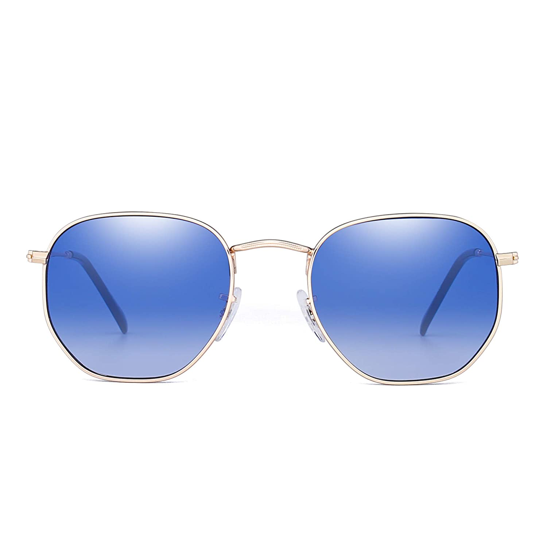 ba349f3cb3a Mirrored Small Sunglasses Geometric Metal Flat Glass Lens Tinted Men Women  (Gold Gradient Blue)  Amazon.co.uk  Clothing