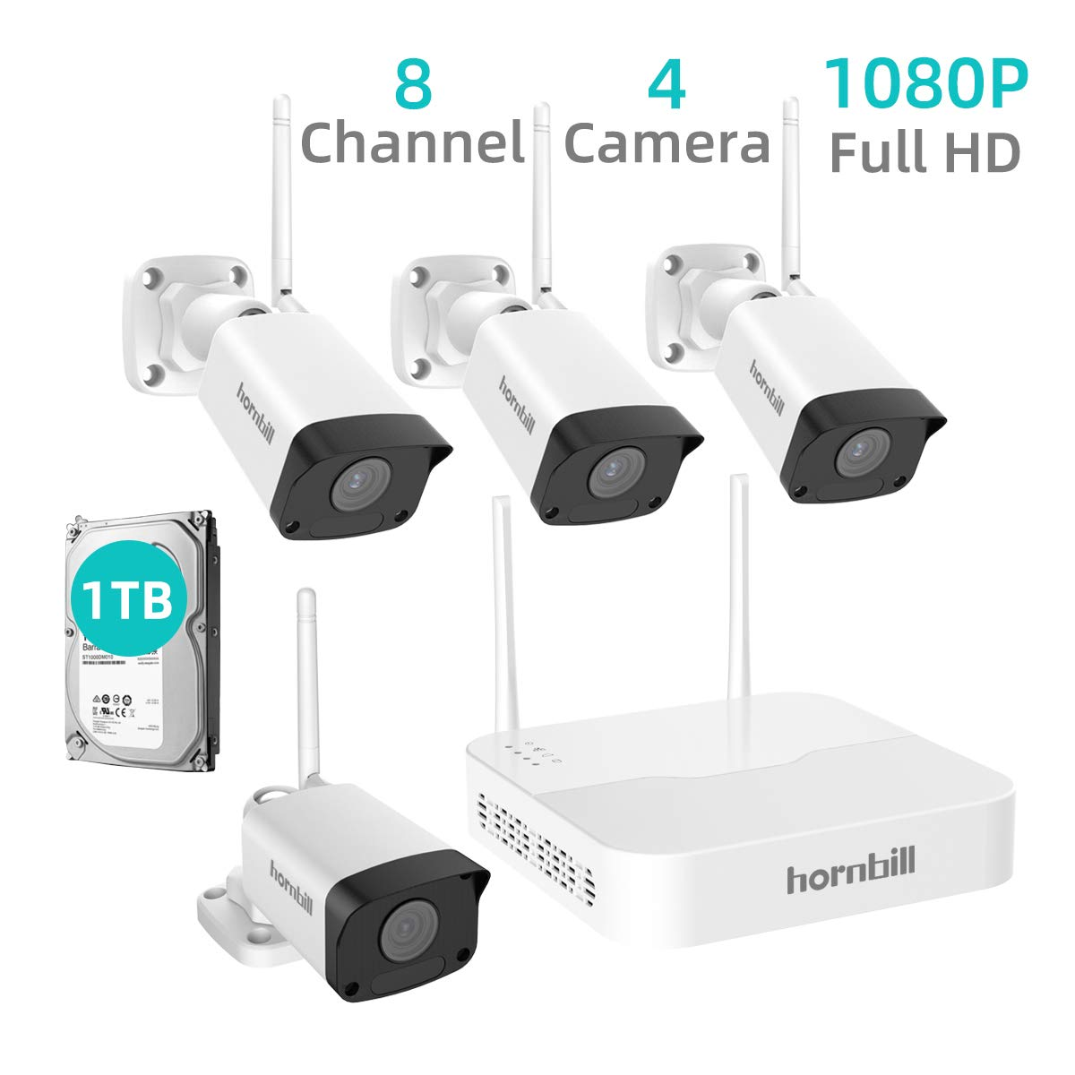 Security Camera System Wireless,Hornbill 8 Channel 1080P Outdoor Home WiFi Security Surveillance Camera System,4pcs 1080P IP Security Camera and 1TB Hard Drive Installed No Monthly Fee by hornbill