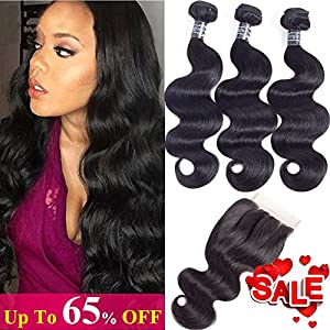 Amella Hair 10A Brazilian Virgin Body Wave Hair 3 Bundles with Three Part Closure (14 16 18+12,Natural Black) 100% Unprocessed Brazilian Body Wave Human Hair Weft with Lace Closure Brazilian Body Wave