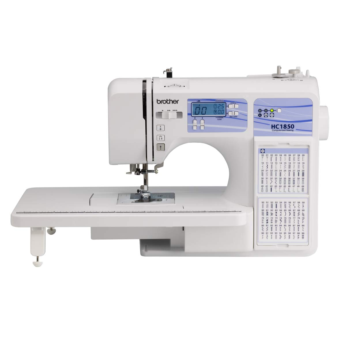 Brother Computerized Sewing and Quilting Machine, HC1850, 130 Built-in Stitches, 8 Presser Feet, Sewing Font, Wide Table, 850 Stitches Per Minute