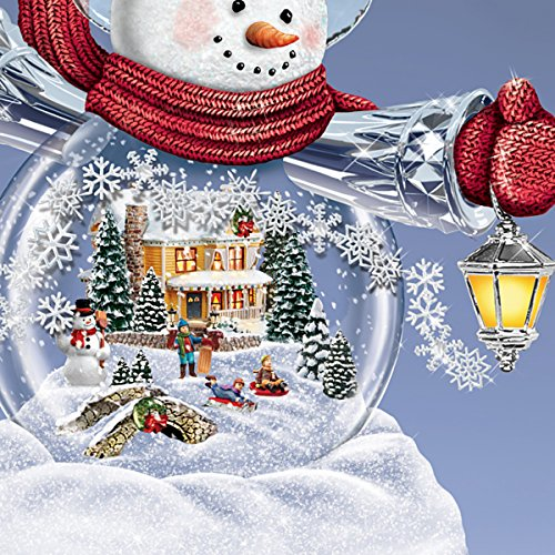 Thomas Kinkade Snowglobe Snowman with Lighted Scene Plays 8 Holiday Carols by The Bradford Exchange by Bradford Exchange (Image #2)