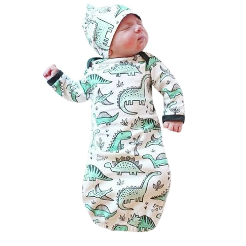 HappyMA Infant Baby Girl Boy Sleepwear Cute Cartoon Dinosaur Pajamas Gown Swaddle Hats Outfits 6-9 Months)