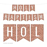 Andaz Press Rose Gold Faux Glitter Background Party Banner Decorations, Holy Baptism, Approx 5-Feet, 1-Set, Champagne Colored Hanging Pennant Decor