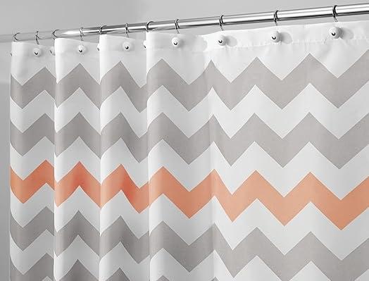 grey and coral shower curtain. mDesign Chevron Luxury Fabric Shower Curtain Bathroom Bath 180 cm x  Light Grey