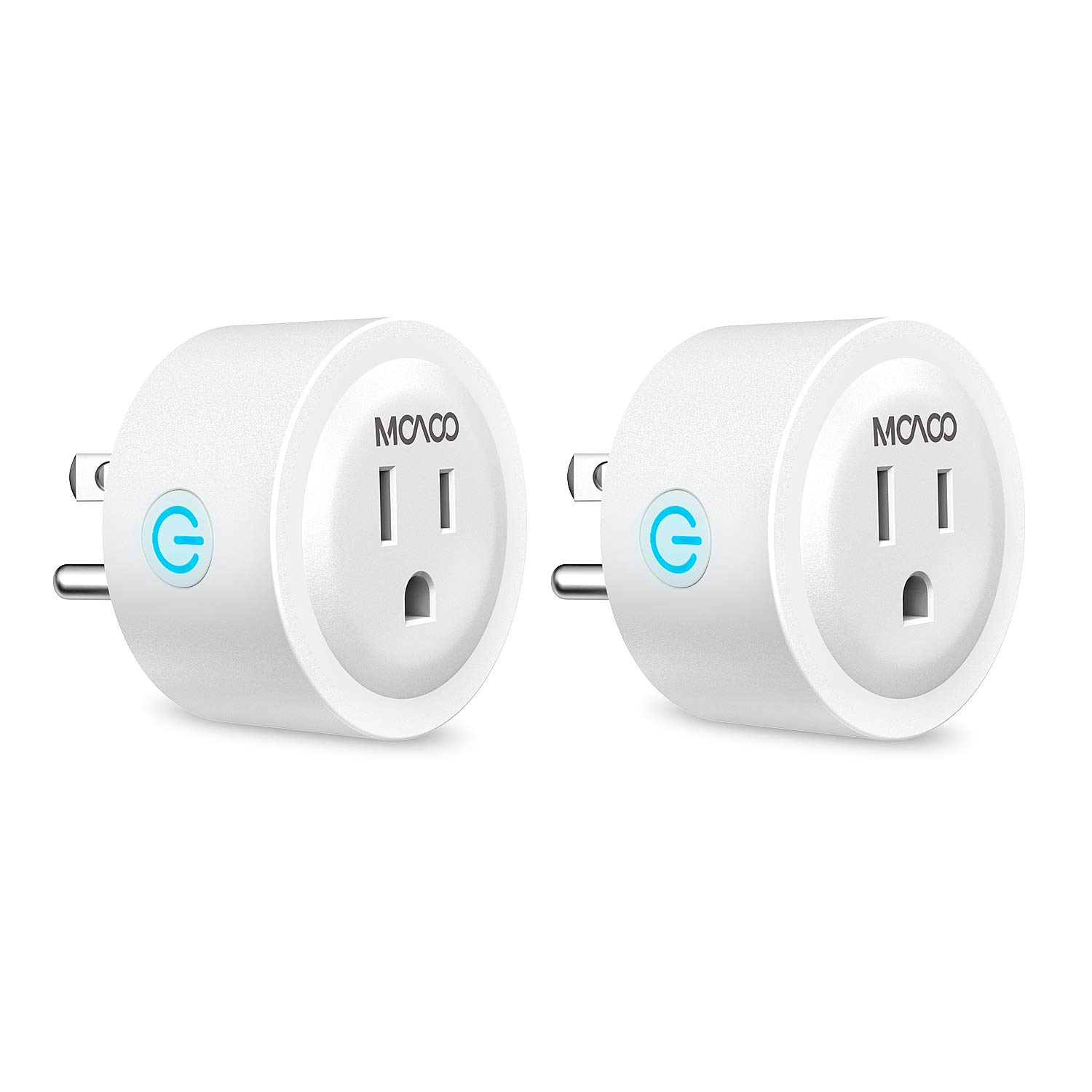 MOAOO Wi-Fi Smart Outlet, Mini Smart Plug Compatible with Alexa and Google Assistant, No Hub Required Timing Function, White, 2 Pack