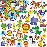 Lot de 96 Autocollants Animaux de la Jungle en Mousse pour enfants