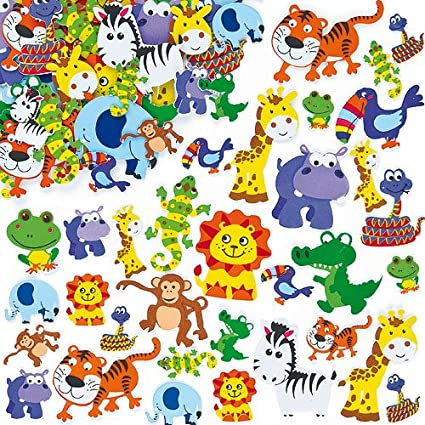 Amazon Com Baker Ross Jungle Animal Foam Stickers 12 Assorted
