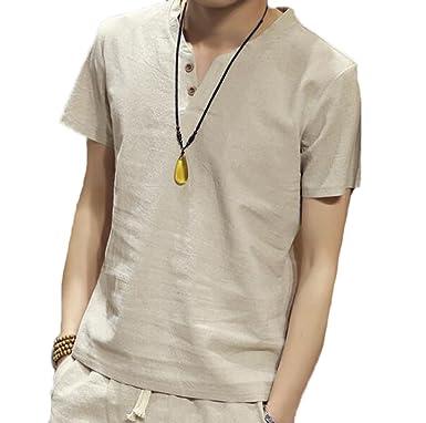 f6c223a2f79f Männer Vintage Baumwolle Leinen T-Shirt Casual Chinesischen Stil  V-Ausschnitt Knopf Kurzarm Top