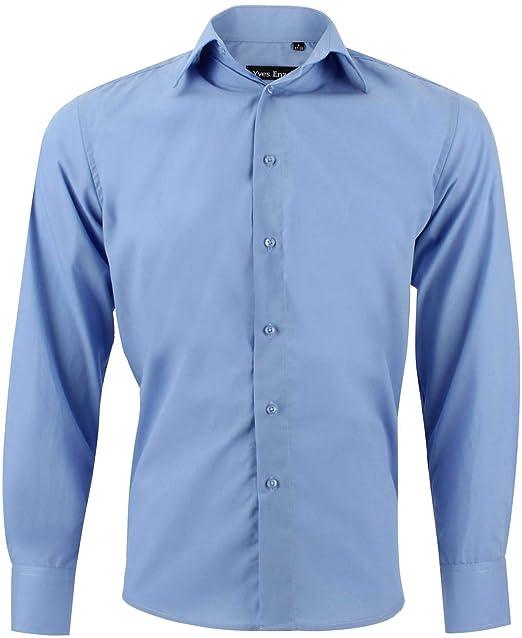 4cefab2d04 Enzo Camisa Hombre Clásico Regular Fit Color Sólido con Mangas Largas de S  a XXL