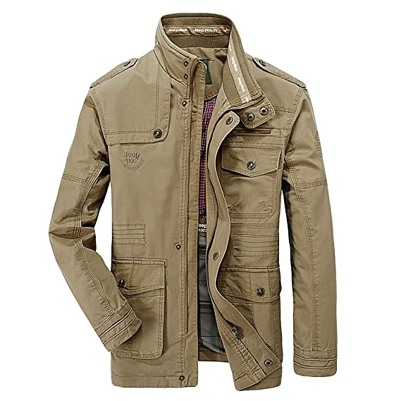 Mens Autumn and Winter Casual Multi-Pocket Long Jacket ...