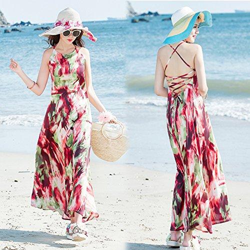 XIU*RONG Eslinga De Verano Falda Vestidos De Vacaciones Junto Al Mar En La Playa Color