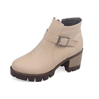 Women's Zipper Round Closed Toe Kitten-Heels PU Low Top Boots