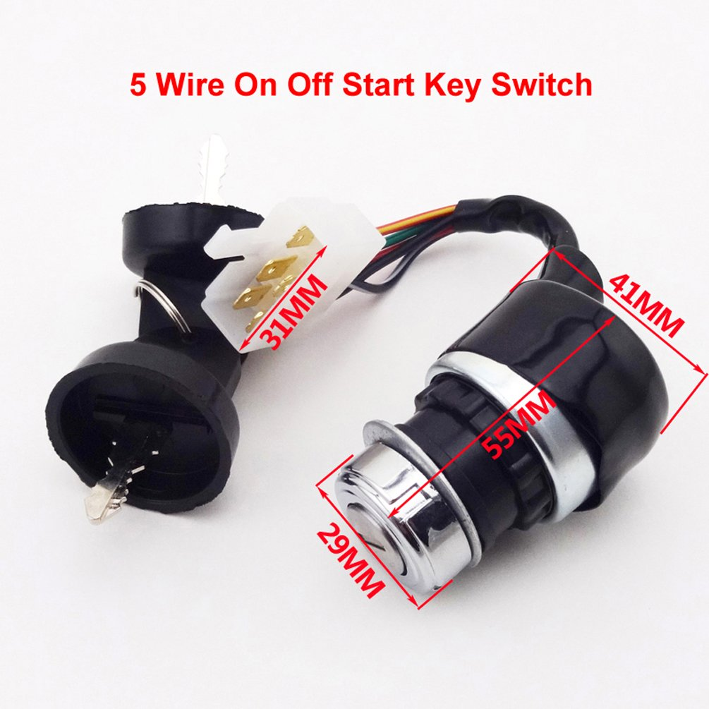 Xljoy 5 Wire On Off Start Ignition Key Switch For Engine Wiring Diagram In Addition Roketa 250cc Go Kart Hammerhead Carter Bros 150cc Buggy Automotive