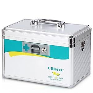 Ollieroo Locking Medicine Box with Key Portable Medication Lock Box Precription First Aid Box Medium 7.7 x 7.9 x 12 inches (Silver)