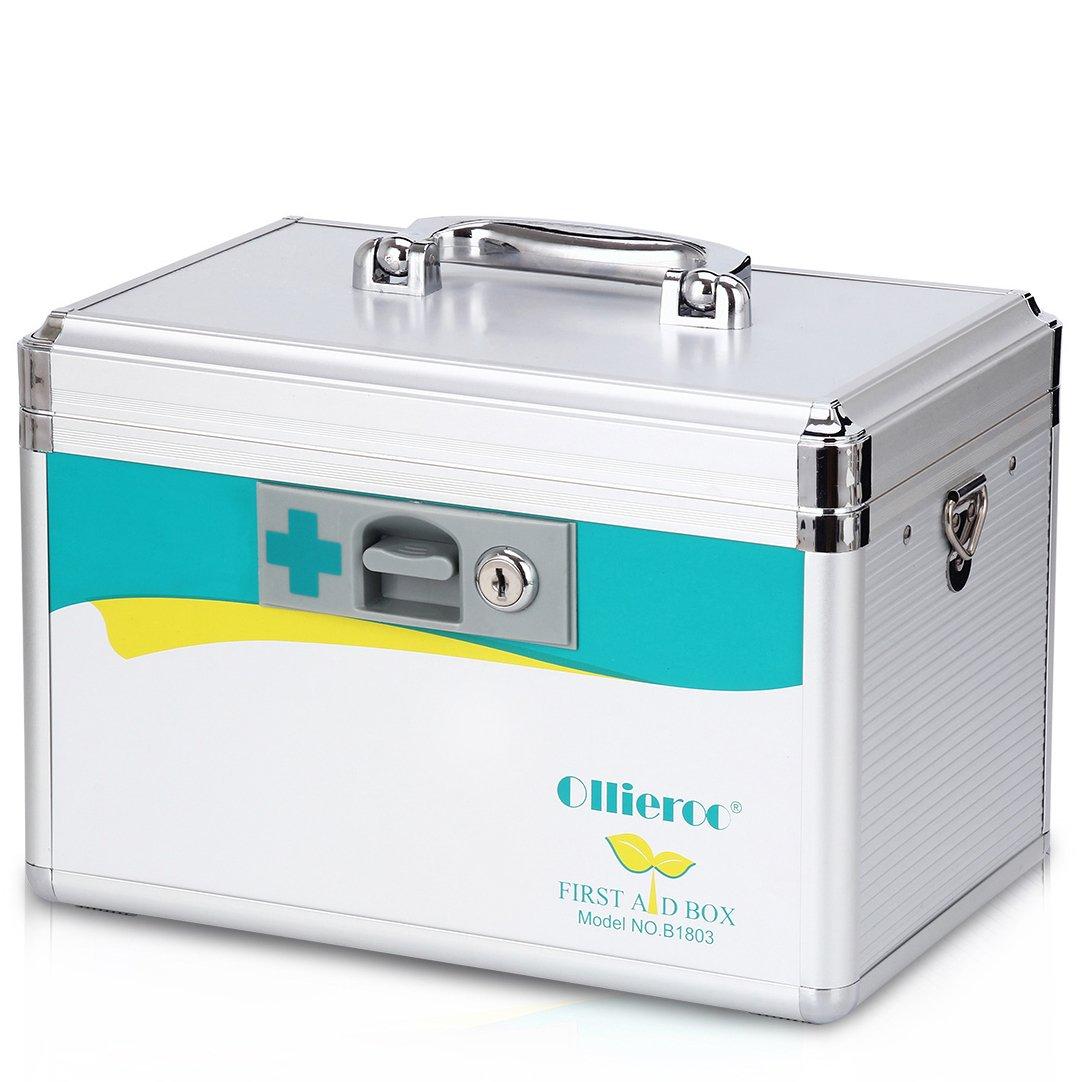 AZDENT Locking Medicine Box Medical Lock Box Precription Storage Medication Box 7.7 x 7.9 x 12 inches (Silver)