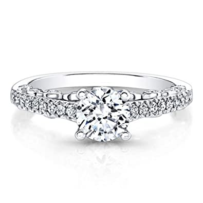 Solitaire 1.40 Ct Real Moissanite Hallmarked 14k White Gold Womens Wedding Rings Other Fine Rings