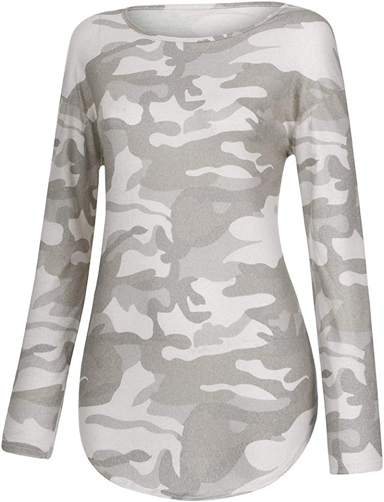 SUNyongsh Womens Camouflage Print O-Neck Long Sleeve Pullover Tops Shirt Camouflage Casual Pullover Sweatshirts Blouse