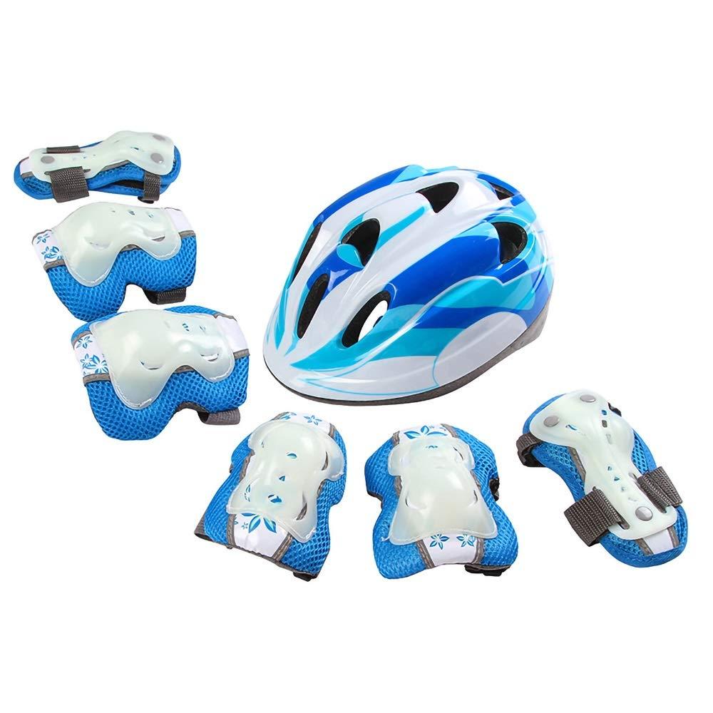 キッズヘルメット 子供のためのヘルメット、7ピース自転車超軽量調節可能な幼児子供プライマリ子供スケートボードなどスポーツヘルメット (Color : Blue)   B07Q1FKBNP