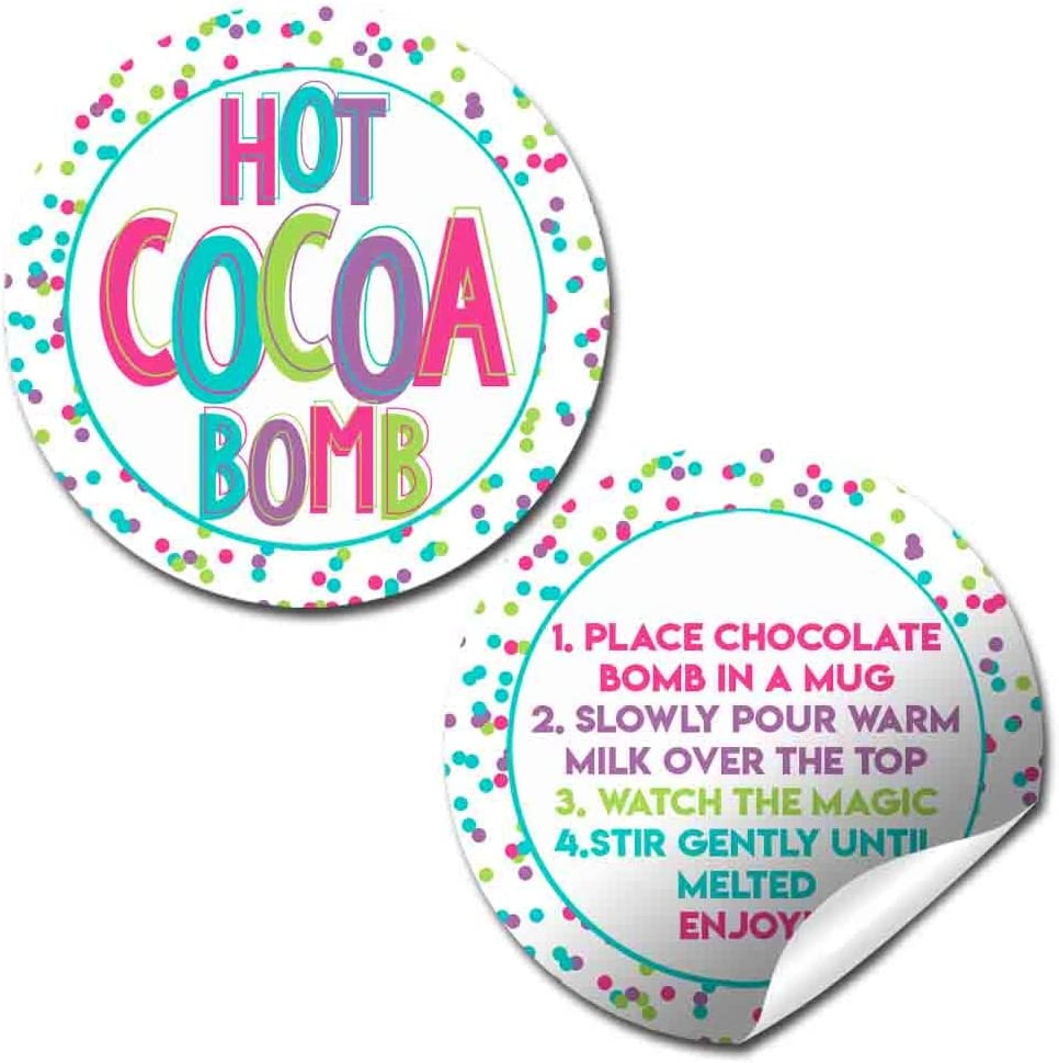 Pink & Purple Polka Dots Hot Cocoa Bomb Sticker Labels, Total of 40 2