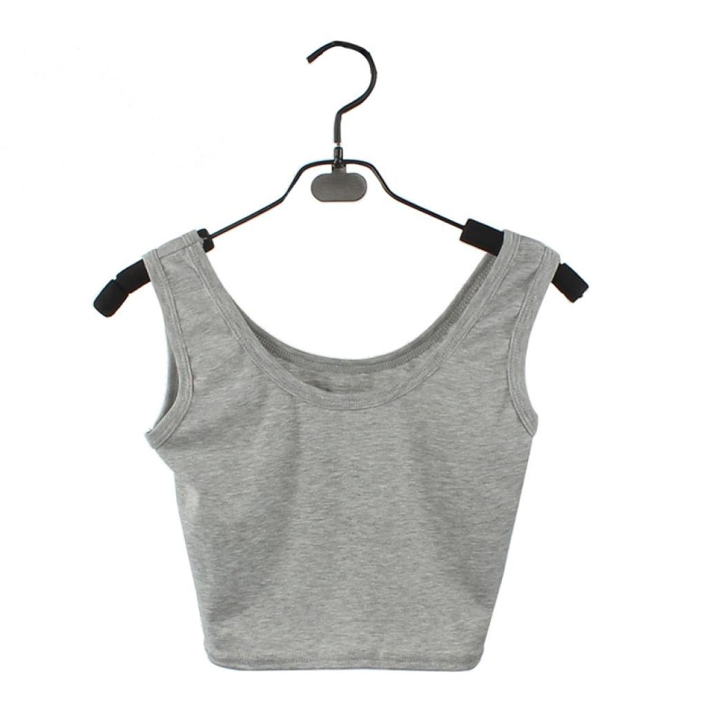 Changeshopping Women's Tight Crop Top Skinny O-Neck T-Shirts Sports Dance Short Vest Changeshopping5