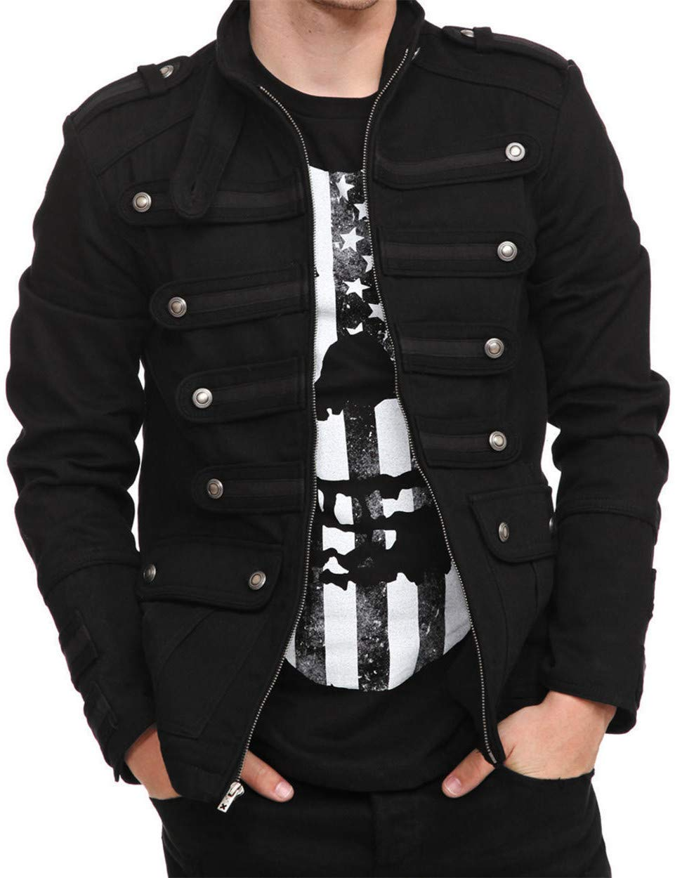 Karlywindow Mens Gothic Military Jackets Casual Band Steampunk Vintage Stylish Jacket with pockets 4