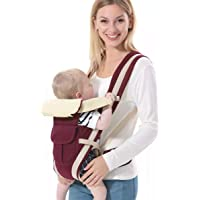 BRANDONN Baby 5 in 1 Carrier Bag with Different Positions Baby Carrier (Wine, Front Carry Facing Out with Belt)