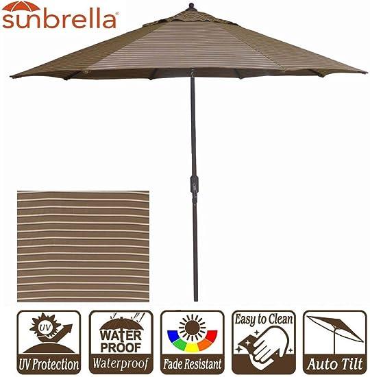 New 9 Wide Sunbrella Umbrella Outdoor Patio Umbrella with Crank and Auto Tilt 9 Crank Tilt, Sunbrella Cocoa Stripe