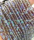 2strands 10mm AB Mystic Aura Quartz Gemstone Titanium Clear white matte blue Round Loose Beads crystal necklace