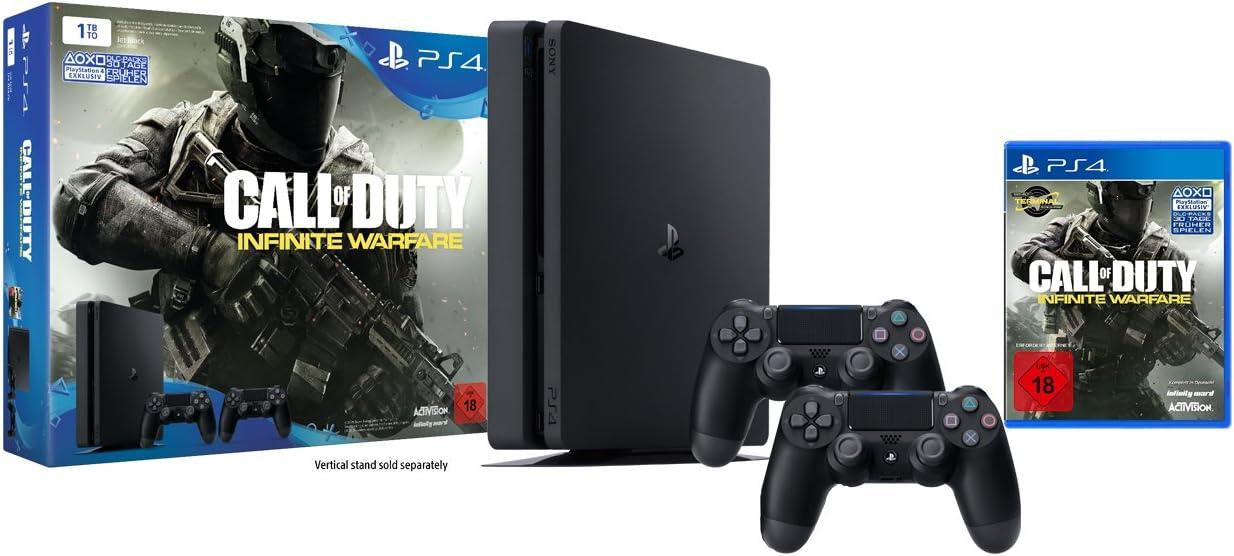 Playstation 4 - Konsole (1TB, Schwarz,Slim) Inkl. Call Of Duty: Infinite Warfare + 2 Dualshock 4 Contoller [Importación Alemana]: Amazon.es: Videojuegos