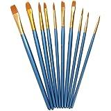 PIXNOR-Set 10 pennelli per colori acrilici, acquerelli, colore: blu