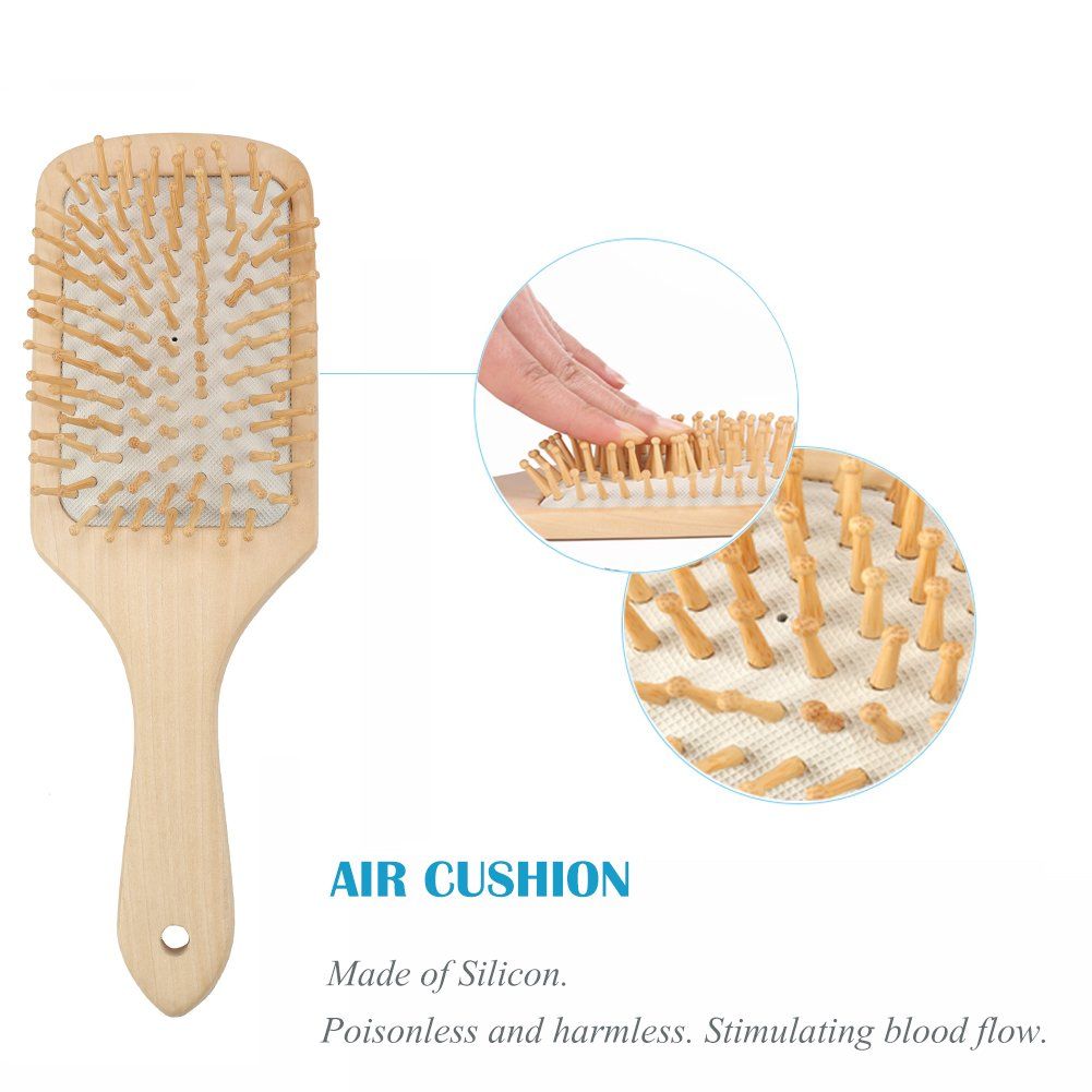 Hair Brush Natural Wooden Hairbrush Air Cushion Hair Comb Scalp Massage Keratin Care Detangling Comb for Thick Thin Fine Curly Straight Wet Dry or Damaged Hair
